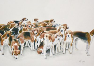 A Leicestershire Meet of the Duke of Rutland's Foxhounds at Harby
